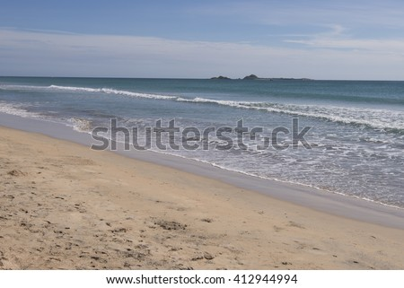 Beautiful beach of Nilaveli, Sri Lanka, Asia. The beach is located in the front of the Pigeon Island National Park. - stock photo