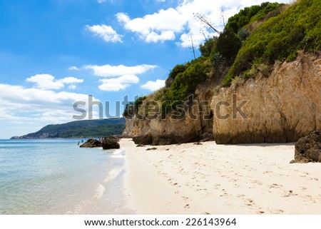 Beautiful beach of Setubal near Lisbon Portugal - stock photo