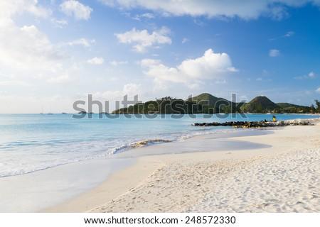 beautiful beach on antigua - stock photo