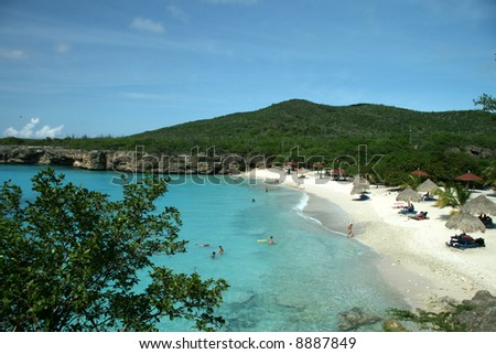 Beautiful beach on Curacao - stock photo