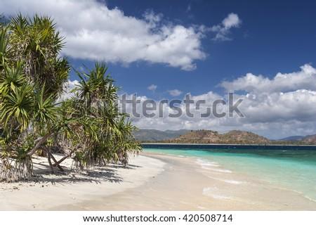 Beautiful beach on Gili Renggit. Lombok island. Indonesia - stock photo