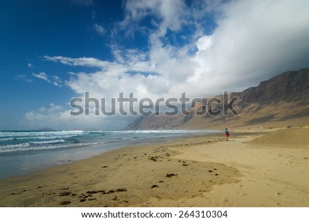 Beautiful beach on Lanzarote  - stock photo