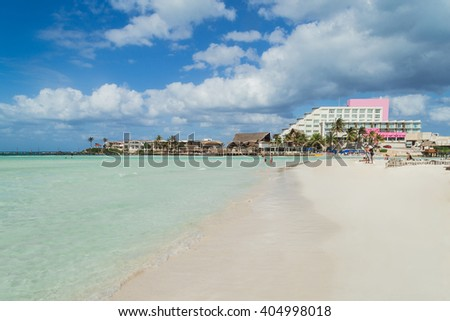 Beautiful beach on the Caribbean coast.  Isla Mujeres, Mexico - stock photo