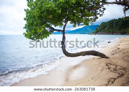 Beautiful beach on the island of Thailand, the rainy season - stock photo