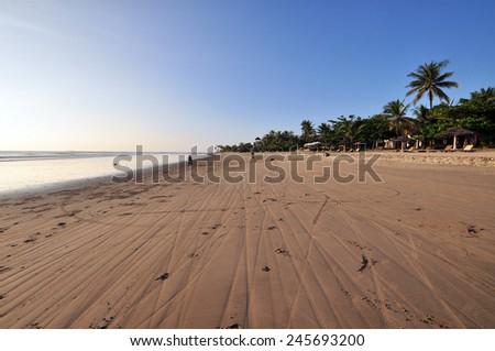 Beautiful beach resort in Ngwesaung Beach on the west coast (Bengal Bay) of Myanmar (Burma) - stock photo