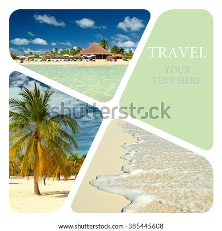Beautiful beach resort. Travel collage. Luxury spa resort. Wave of the sea on the sand beach - stock photo