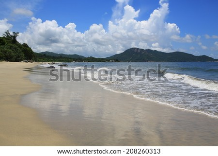 Beautiful beach , sea and reflection of cloudy sky in Beach Cheung Sha in  Lantau island, hong kong