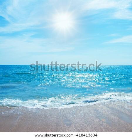 Beautiful beach sea summer sunny background - Leisure summer concept - stock photo
