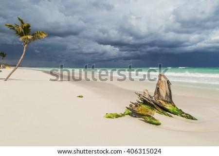 Beautiful beach. Storm sky over the sea - stock photo