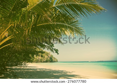 Beautiful beach, Thailand - retro style postcard - stock photo