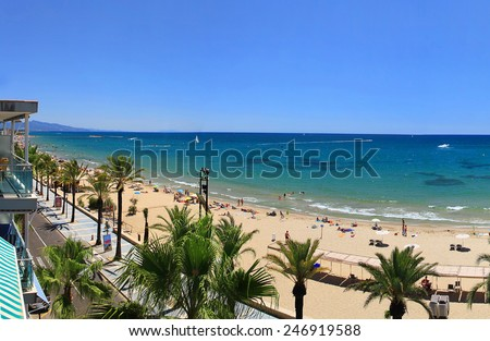 Beautiful beach view from balcony during sunny day - stock photo