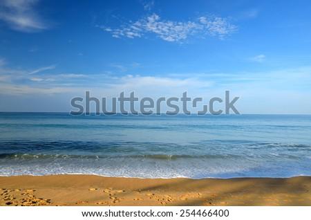 Beautiful beach with blue sky at Mai khao beach, Phuket, Thailand  - stock photo