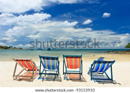 Beautiful beach with chair, Samed island , Thailand