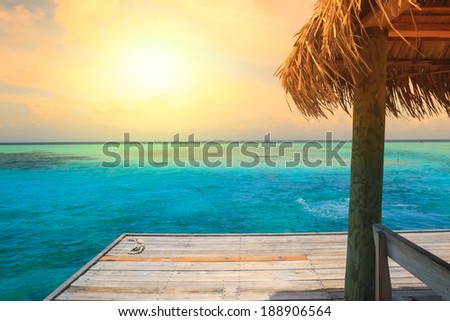 Beautiful beach with jetty at Maldives - stock photo