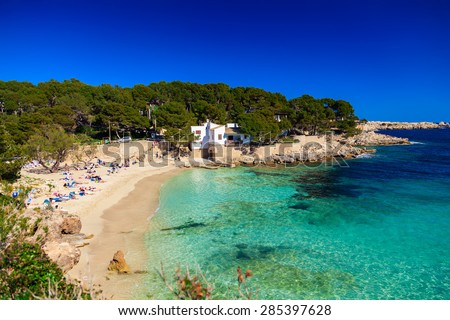 beautiful beach with turquoise sea water, Cala Gat, Majorca, Spain  - stock photo