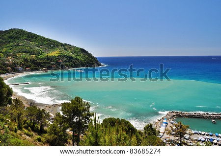 Beautiful beach with view on mediterranean in Levanto in Italy
