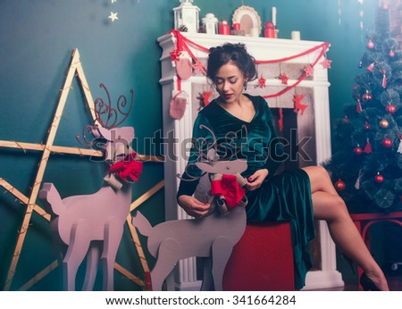 Beautiful beautiful woman preparing for christmas holidays - stock photo