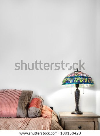beautiful Bedroom Interior detail with blank wall for your text, image or logo - stock photo
