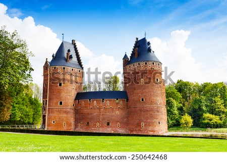 Beautiful Beersel Castle in Brussels in Belgium during sunny day in summer - stock photo