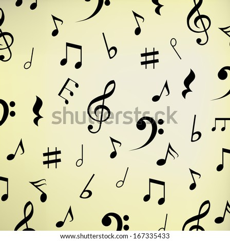 Beautiful beige music background with notes
