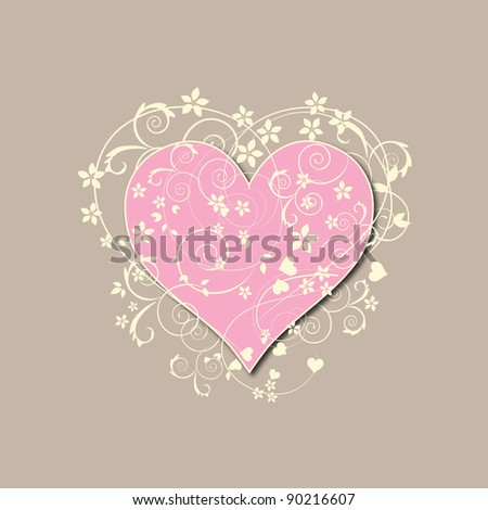 Beautiful, beige retro love background with pink heart, swirls and flowers - stock photo