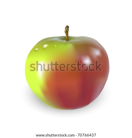 Beautiful big apple with drops of water, JPG-version, illustration