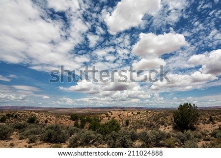 Beautiful  big blue sky with numerous clouds in the desert on the border of Utah and Arizona  - stock photo