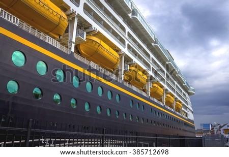 Beautiful Big Cruise Passenger Ship in the Port - stock photo