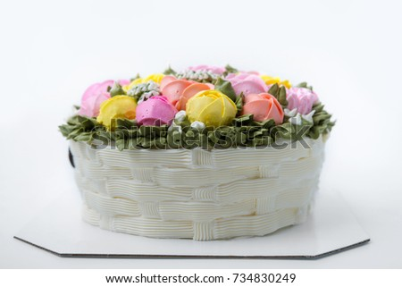 Beautiful Birthday Cake Cream Flowers Stock Photo Royalty Free