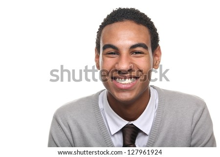 Beautiful black adolescent posing - stock photo