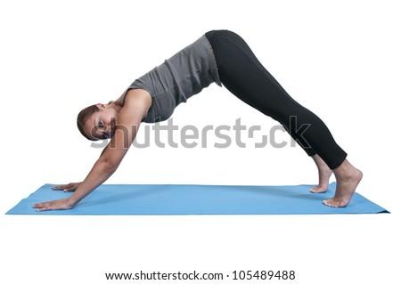 Beautiful black African American woman doing her Yoga exercises - stock photo