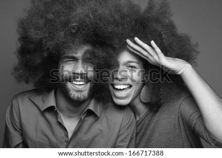 Beautiful black and white Couple - stock photo