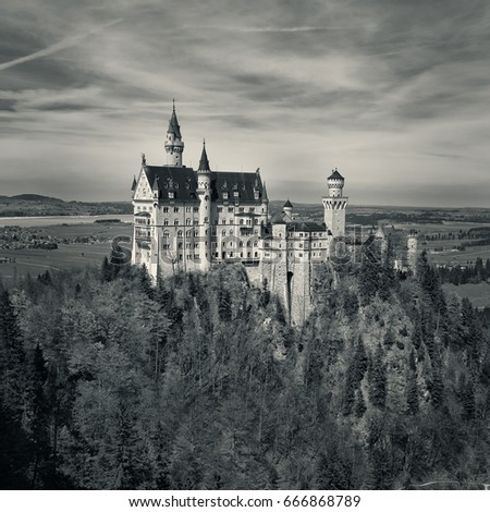 Beautiful black and white view of world famous neuschwanstein castle near fussen southwest