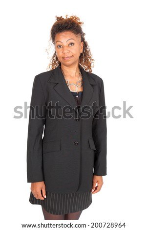 Beautiful black businnesswoman doing different expressions in different sets of clothes