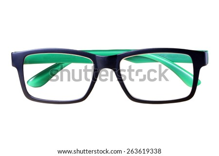Beautiful Black Eye Glasses Isolated on White background. This has clipping path. - stock photo