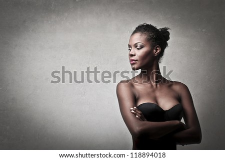 Beautiful black girl posing - stock photo