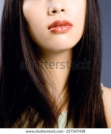 beautiful black hair woman - stock photo
