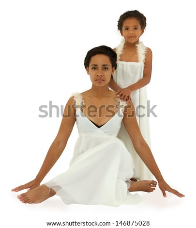 Beautiful black mother daughter portrait in white on white. With clipping path.  - stock photo