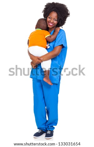 beautiful black paediatric nurse with child isolated on white - stock photo