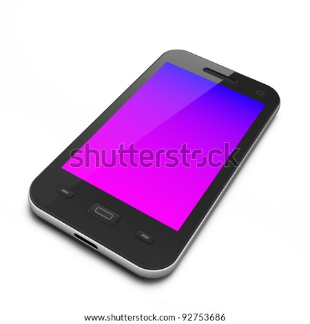 Beautiful black smartphone, 3d render. Smart phone isolated on white - stock photo