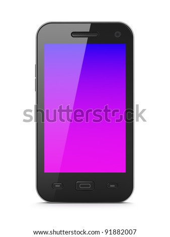 Beautiful black smartphone, 3d render. Smart phone isolated  over white