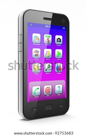 Beautiful black smartphone, 3d render. Smart phone with icons on screen isolated  over white