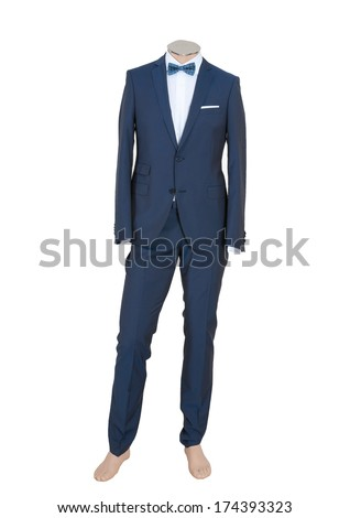 Beautiful black suit on a man doll, Isolated