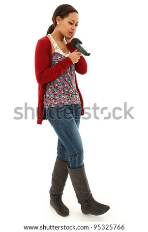 Beautiful Black Woman Casual College Student Recording Notes on hand held Audio Recorder. - stock photo