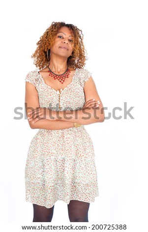 Beautiful black woman doing different expressions in different sets of clothes - stock photo
