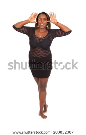 Beautiful black woman doing different expressions in different sets of clothes