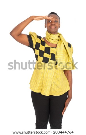 Beautiful black woman doing different expressions in different sets of clothes: at attention - stock photo