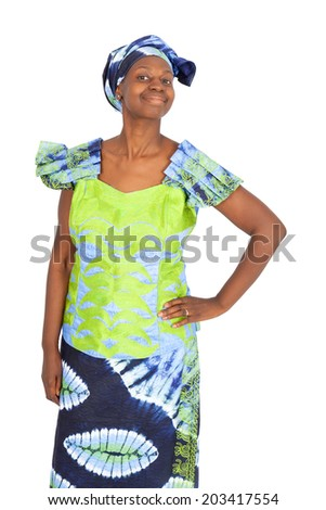Beautiful black woman doing different expressions in different sets of clothes: defiant and proud - stock photo