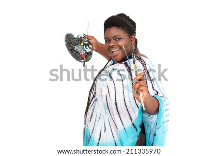 Beautiful black woman doing different expressions in different sets of clothes: painter - stock photo