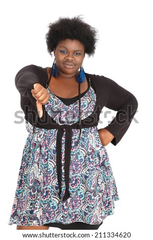 Beautiful black woman doing different expressions in different sets of clothes: thumbs down